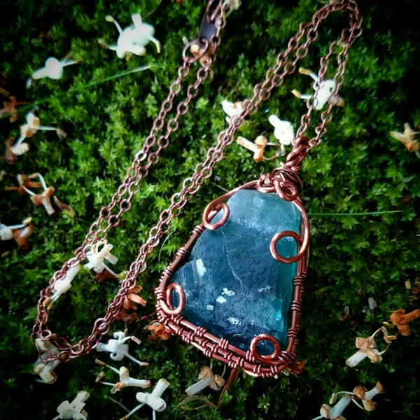 Blue Fluorite Pendant Necklace