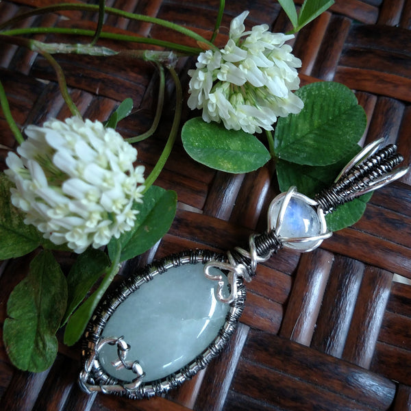 """Cleo"" Moonstone and Aquamarine Wire Wrapped Pendant"