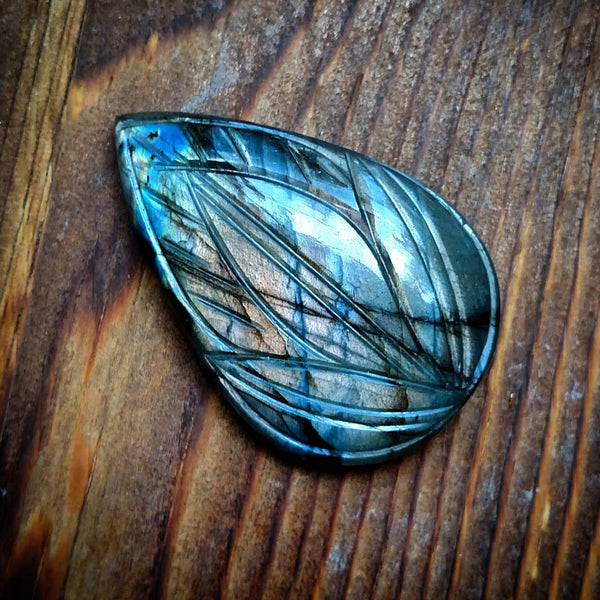 Carved labradorite cabochon pendant- reserved