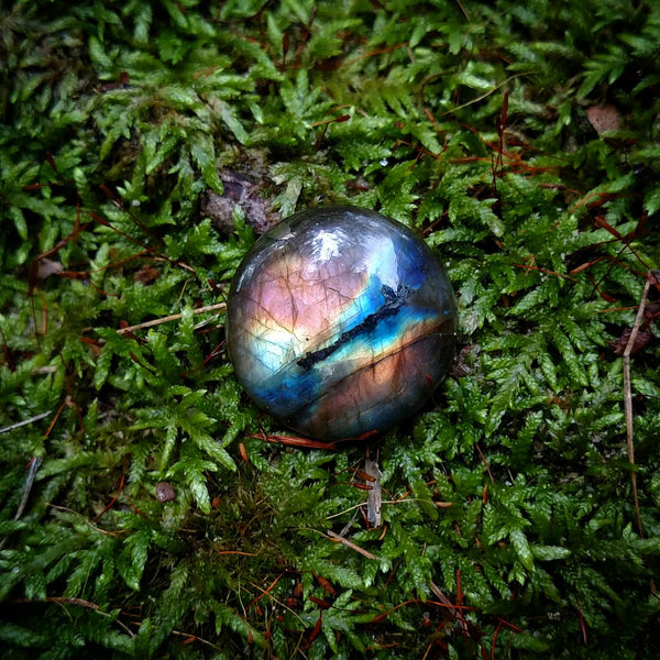 Round Labradorite cabochon - reserved