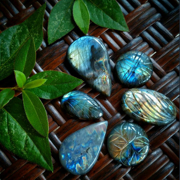 Reserved labradorite cabochon
