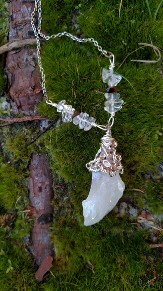 """Purity"" - Wire Wrapped Aura Quartz Pendant with Tigers Eye and Clear Quartz, One of a Kind Handmade Original Design, Bohemian Style Women's Fashion Jewelry"