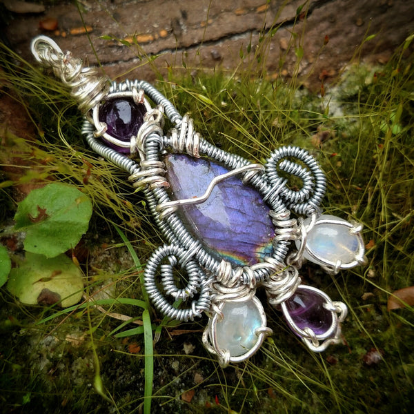 """Purple Goddess"" - Wire Wrapped Crystal Pendant Necklace"