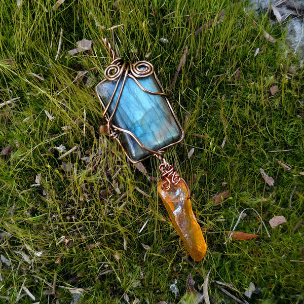 """Drippin' Honey"" - Wire Wrapped Labradorite and Aura Quartz Pendant Necklace"