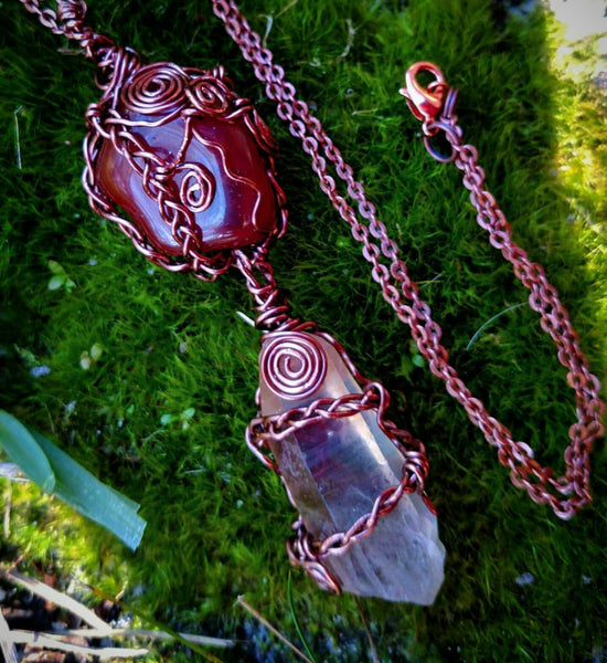 """Braided Bliss"" - Wire Wrapped Crystal Necklace"