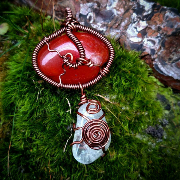 """Ginger Swirls"" - Wire Wrapped Crystal Necklace"