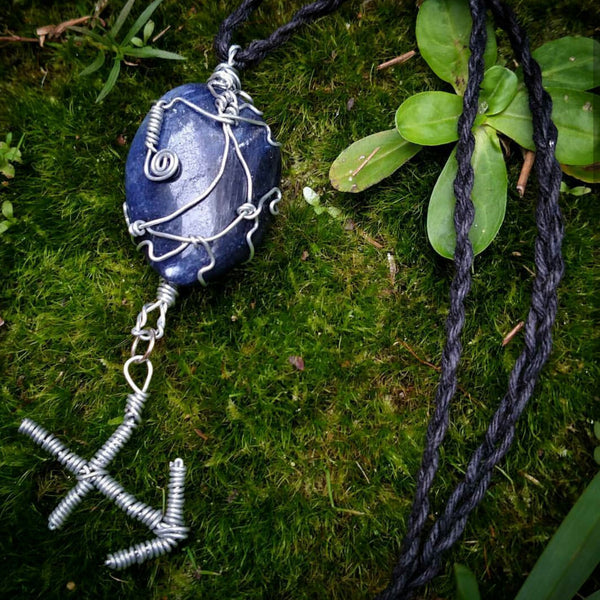 """Sagittarius Dreaming"" - Wire Wrapped Sodalite Crystal Pendant"