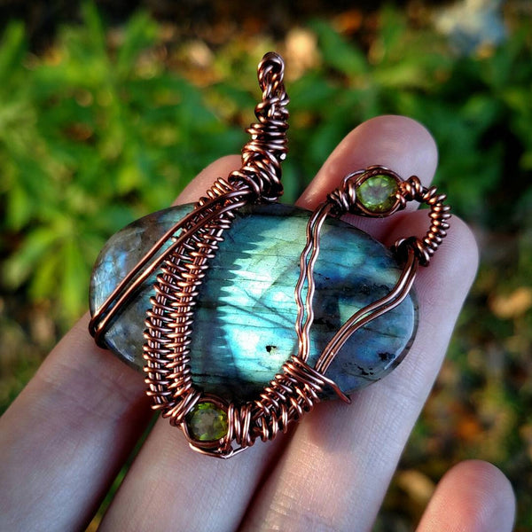 """Island Escape"" - Wire Wrapped Labradorite and Peridot Pendant Necklace"