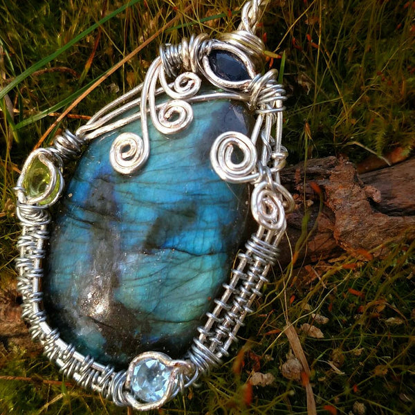 """Third Eye Magic"" - Wire Wrapped Crystal Pendant Necklace, Labradorite, Sapphire, Blue Topaz, Peridot"