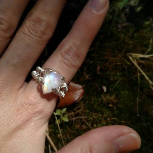 """Fire and Ice"" - Sterling Silver and moonstone ring"