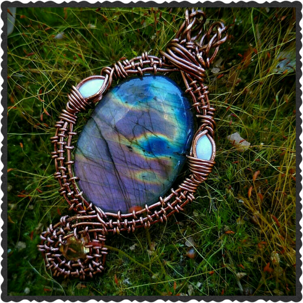 """Gamma Fire"" - Wire Wrapped Purple Labradorite Citrine and Opal Pendant Necklace"