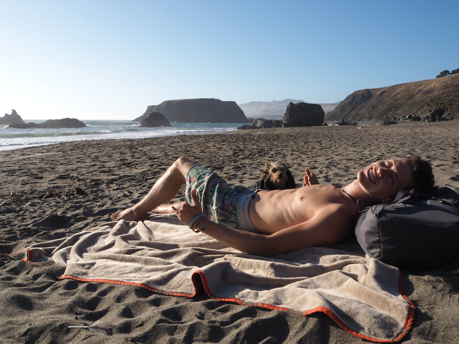 HELLAGOOD Blanket Doug Fir Green Melange with Old Gold Trim