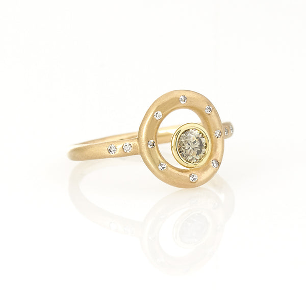 Celestial Cercle Charm Ring- 18K Yellow Gold