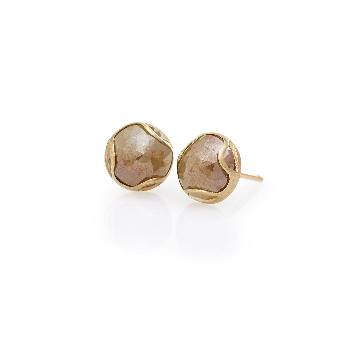 Rustic Diamond Stud Earrings-18K Yellow Gold