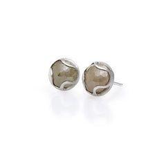 Rustic Diamond Stud Earrings-18K white Gold