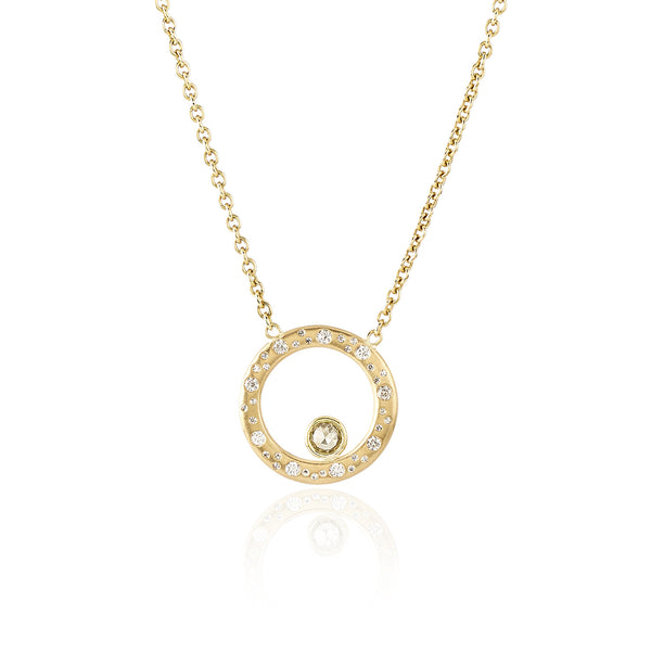 Celestial Circle Necklace - 18K Yellow Gold