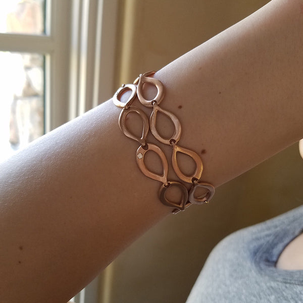 Slinky Link 18K Rose Gold and Diamond Bracelet