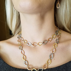 Slinky Link Mixed Metal Necklace