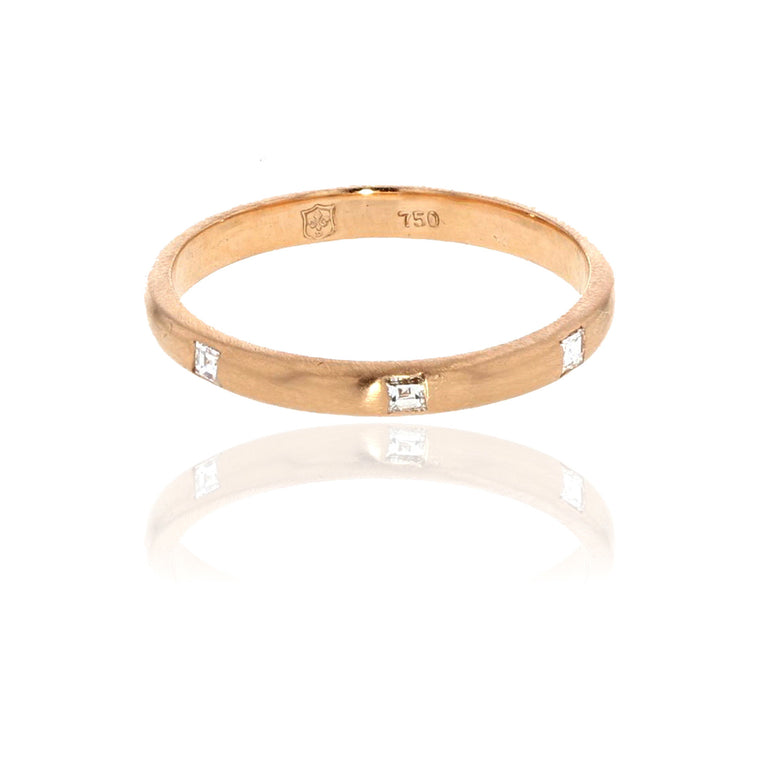 Carre Diamond 2 MM Band 18K Rose Gold