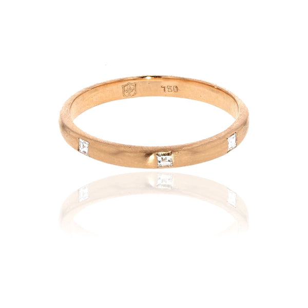 2 MM Band with Carre Diamonds 18K Rose Gold