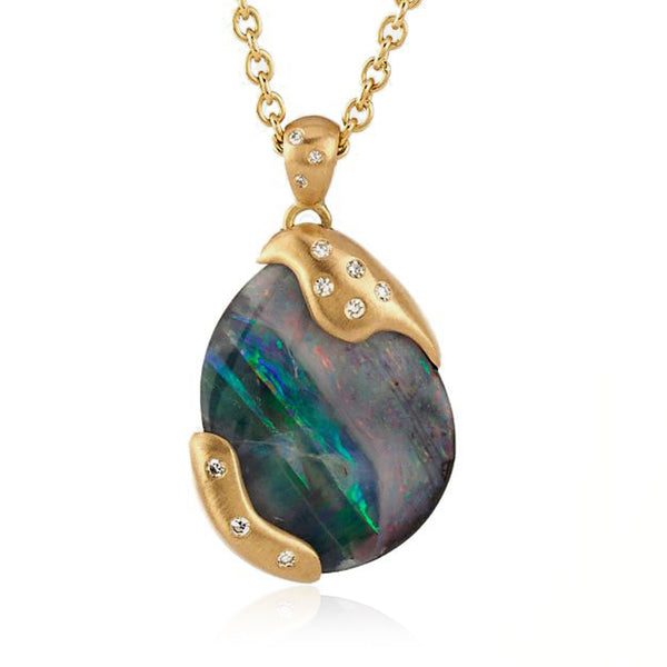 Boulder Opal Streak Necklace - 18k Yellow Gold