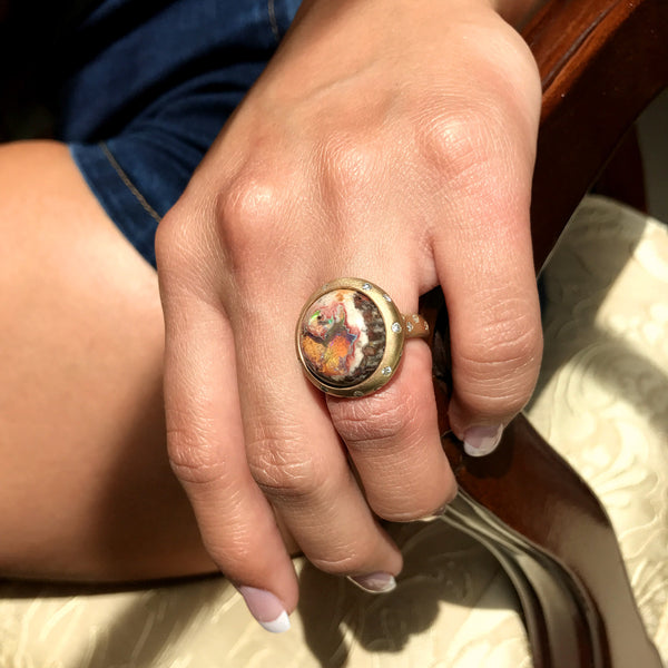 Sphere Ring - Mexican Matrix Opal in - 18k Yellow Gold