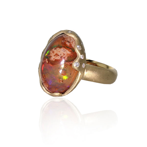 Cosmos Ring - Mexican Opal in 18k Yellow Gold