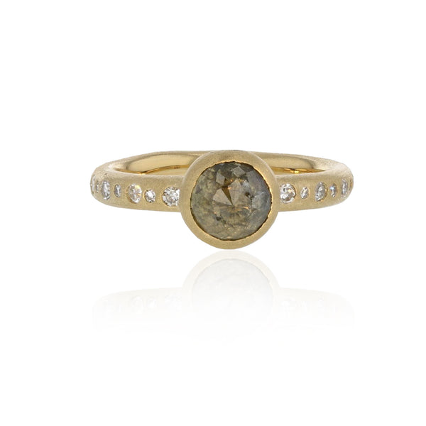 Rond Ring with Natural Color Diamond - 18K Yellow Gold
