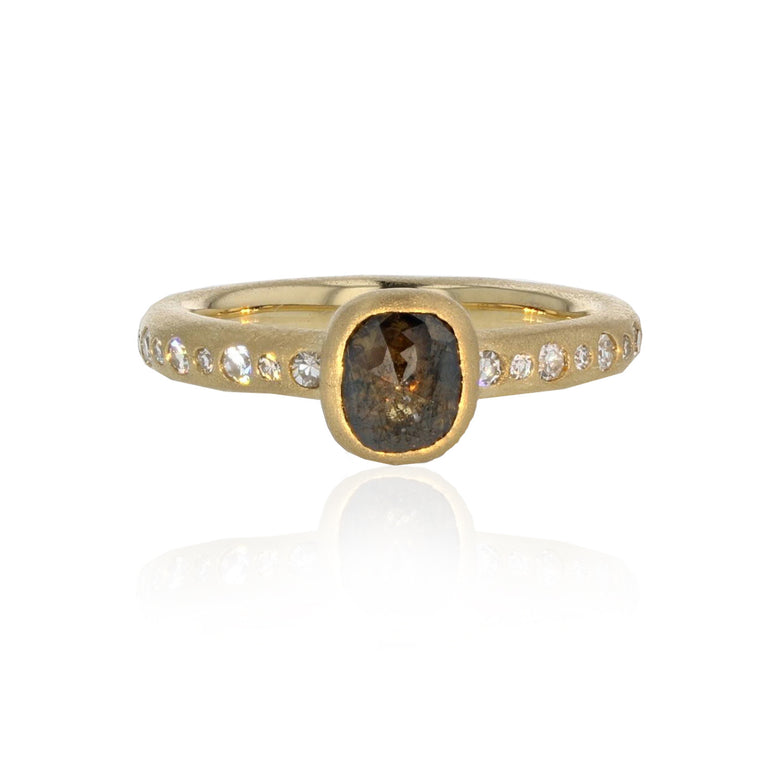 Oblong Natural Color Diamond Ring - 18K Yellow Gold