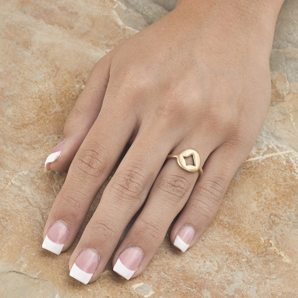 Pillow Charm Ring - 18K Yellow Gold