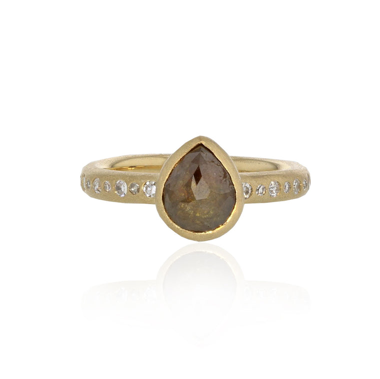 Larme Ring with Amber Diamond - 18K Yellow Gold