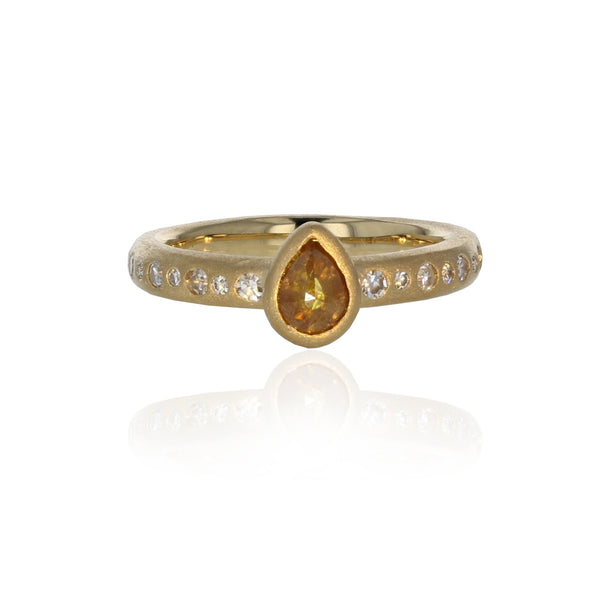 Larme Ring with Orange Diamond - 18K Yellow Gold