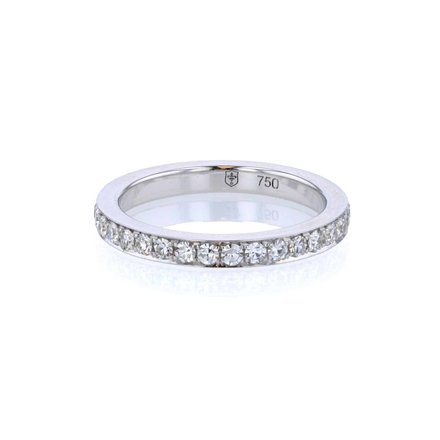 Diamond Bright Cut Pave 18K Yellow White Band