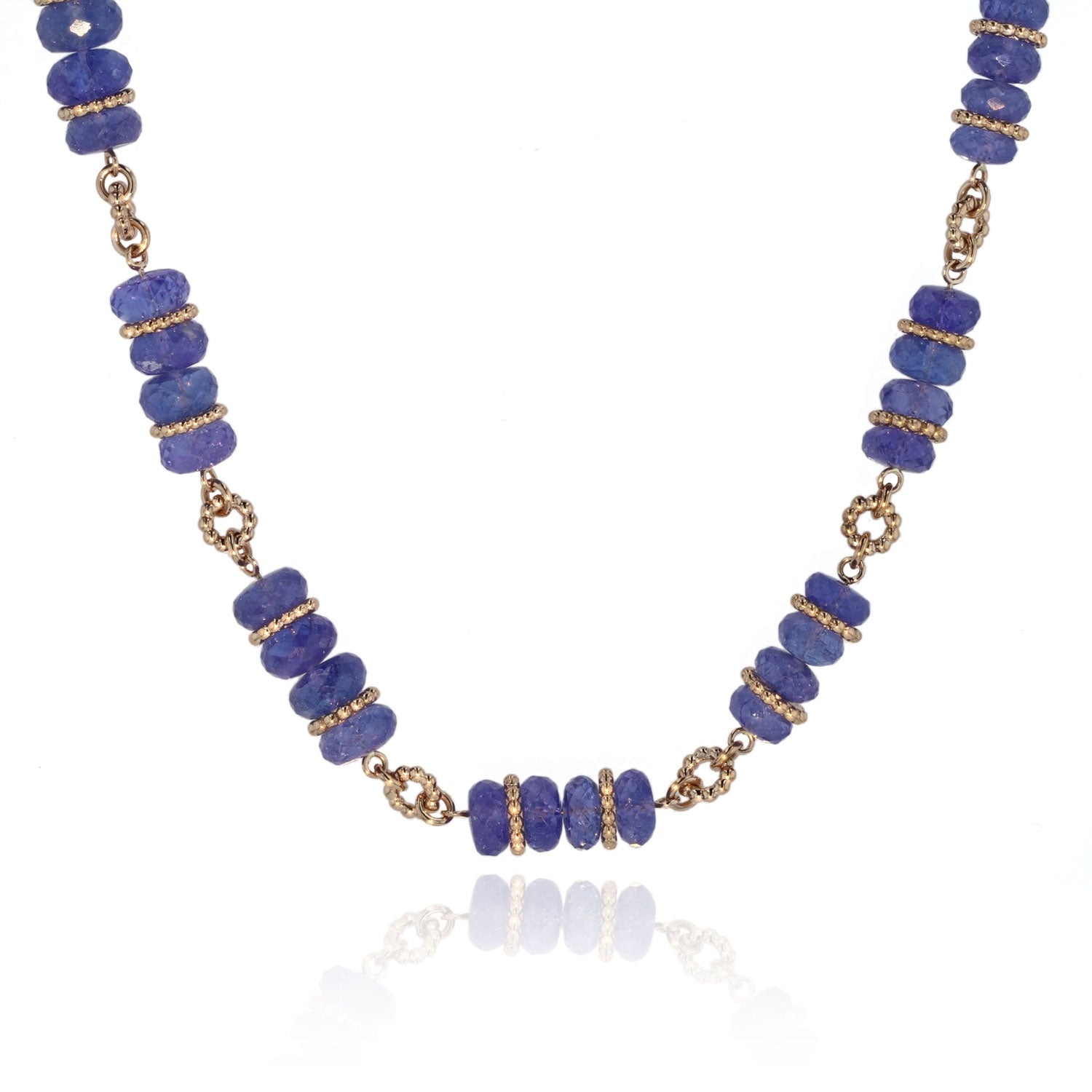 One of a kind Tanzanite and 18K rose gold Beaded necklace