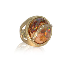 Shooting Star Ring - Mexican Opal in - 18k Yellow Gold