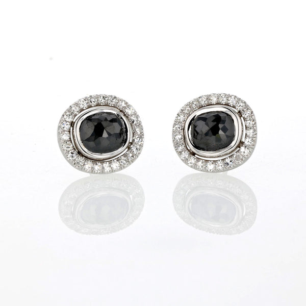 Black Diamond Studs - 18k White Gold