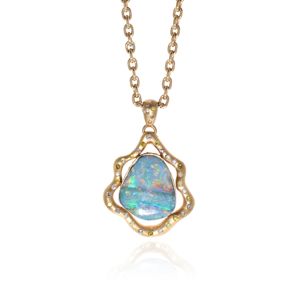 yellow handmade opal pendant flashopal in dreamtime boulder blue jewelry gold sale