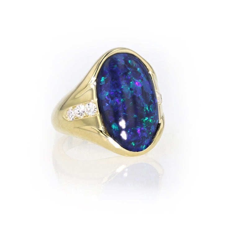 One Of A Kind Black Opal Ring 18K YellowGold