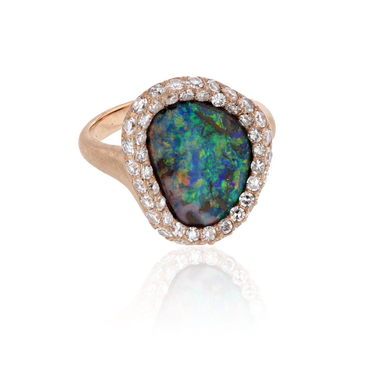 bezel rose engagement aiboulder set rings gold diamond ring com opal boulder
