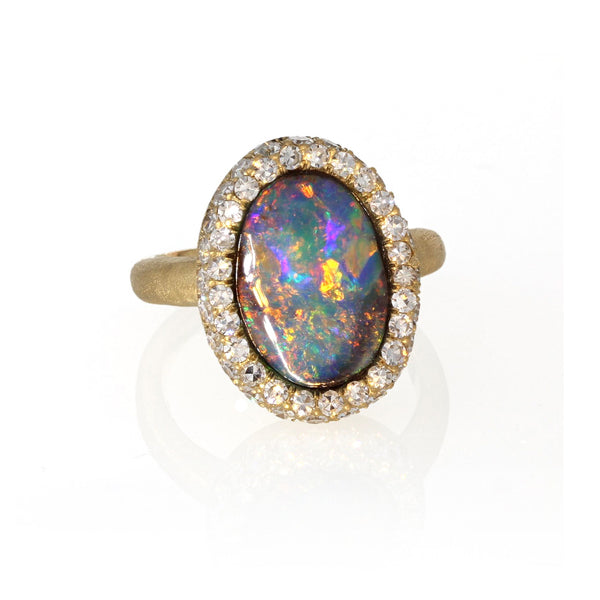 Constellation Ring - Boulder Opal in 18k Yellow Gold