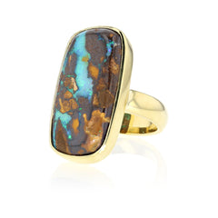 Boulder opal set in 18K yellow Gold
