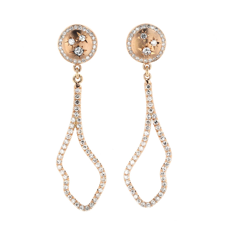 Button Stud Earrings with Pave diamond cloud drop 18K Rose gold