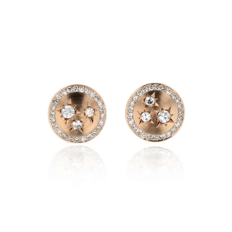 Button Stud Earrings with Diamonds 18K Rose Gold