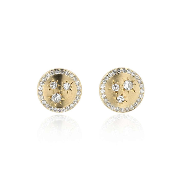 Button Stud Earrings with Diamonds 18K Yellow Gold