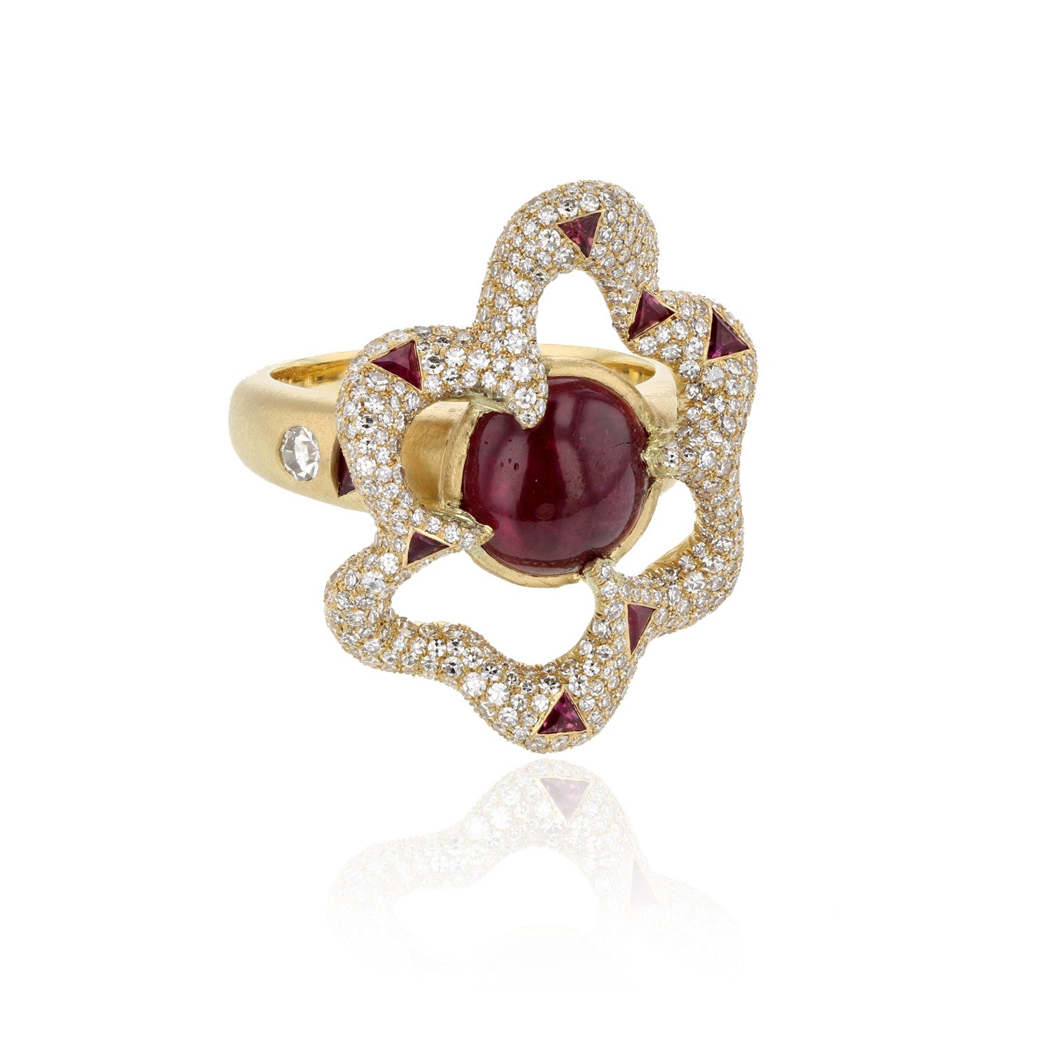 Fantasia Ruby and Diamond Ring - 18K Yellow Gold