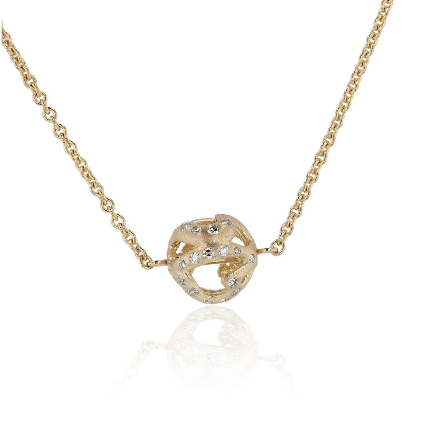 Charm Ball necklace heart with diamonds - 18K yellow gold