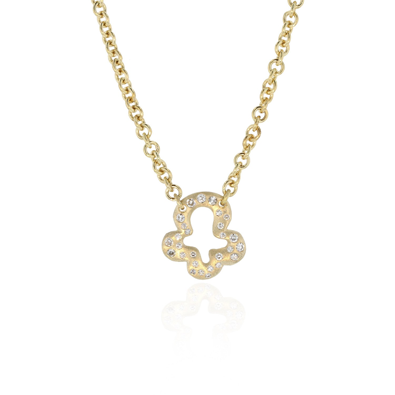 Trèfle Charm Necklace with Diamonds - 18K Yellow gold