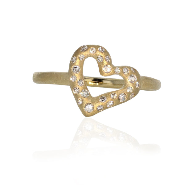 Coeur Charm Ring- 18K Yellow Gold
