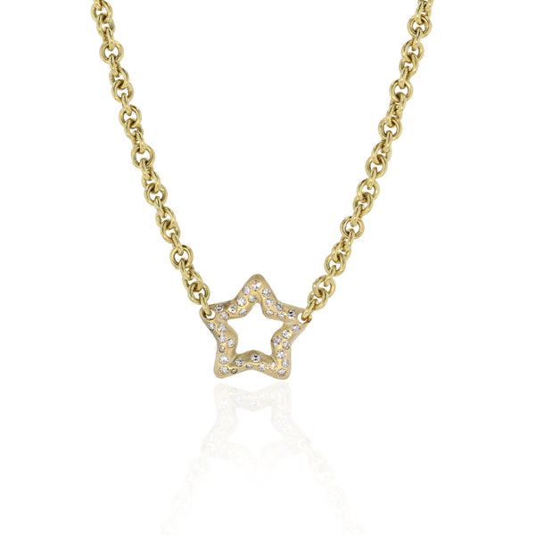 Star Charm Pendant with Diamonds - 18K Yellow Gold