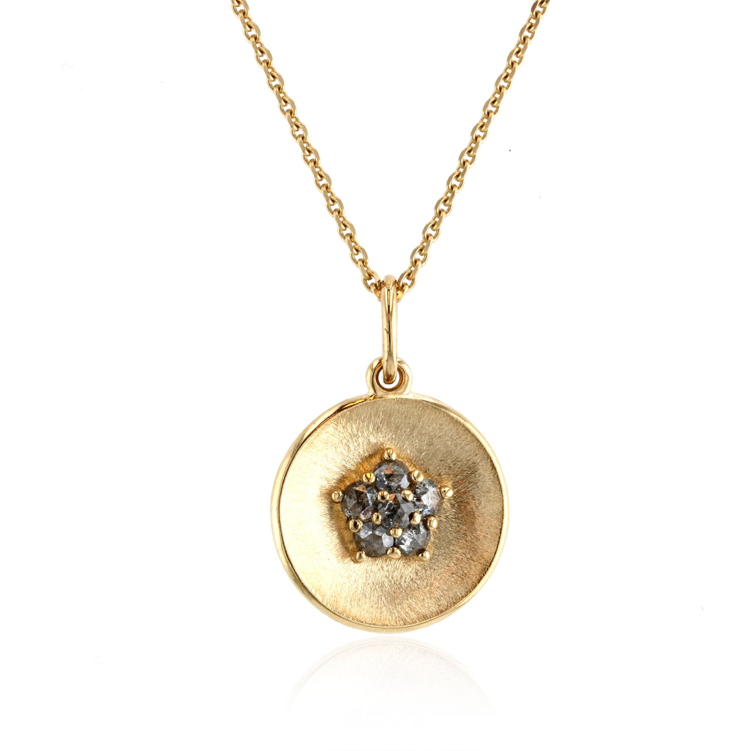 Disk Pendant with rose cut Dark Grey diamonds - 18K Yellow Gold